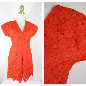 Banana Republic Orange Floral Lace Overlay Dress